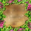 Background texture of wooden photo frames and green leaves — Stock Photo #21454709