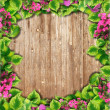 Background texture of wooden photo frames and green leaves — Stock Photo #21454729