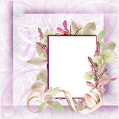 Valentines and wedding background with flowers and frame — Stock Photo