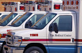 Ambulances in a row — Stock Photo
