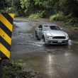 Car driving through kauai stream - Stock Photo