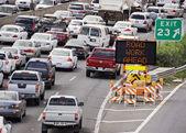 Highway construction traffic — Stock Photo