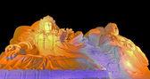 Buz heykeli, renkli lamba — Stok fotoğraf
