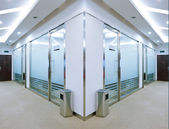Corridor in office building with big windows passing daylight — Stock Photo