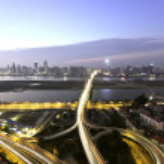Long exposure photo of city ring road viaduct night scene — Stock Photo