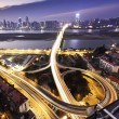 Stock Photo: Long exposure photo of city ring road viaduct night scene