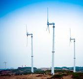Wiatr generator prądu, w obszarze pustyni Chiny, energii środowiska sprzęt. — Zdjęcie stockowe