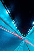 The tunnel at night, the lights formed a line — Stock Photo