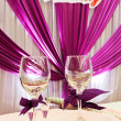 Wedding banquet table details — Stock Photo