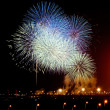 Stock Photo: Big fireworks during celebrations at night
