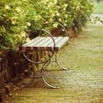 Outdoor chair in garden — Stock Photo