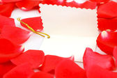Red roses with a blank gift tag. — Foto de Stock