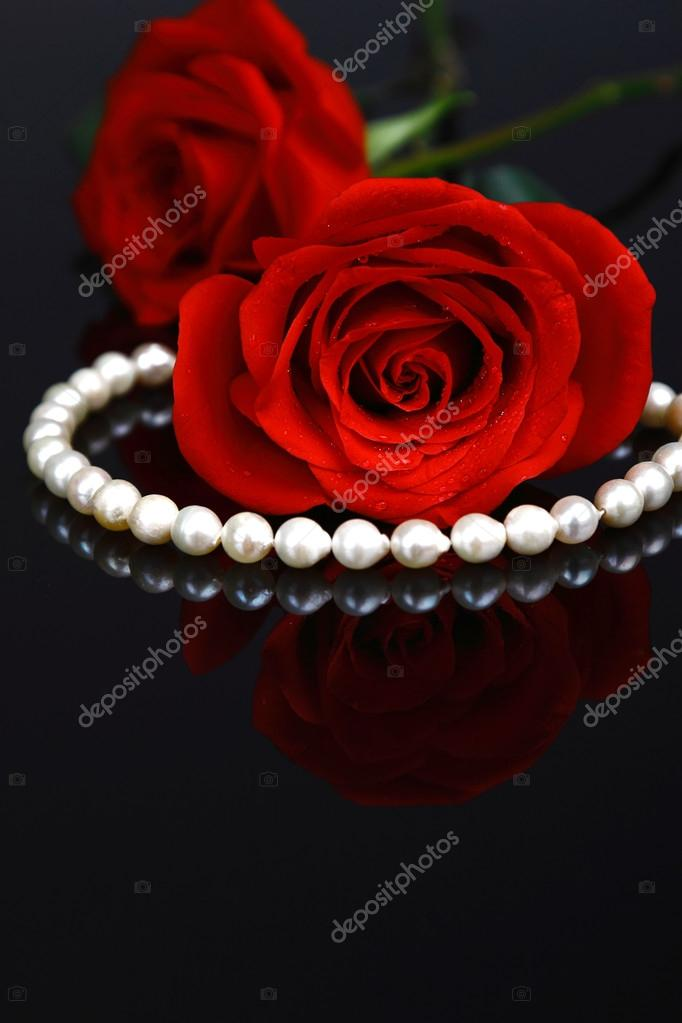 Beautiful red rose with necklace — Stock Photo #19361641