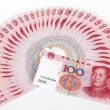 China's currency. Chinese banknotes - Stock Photo