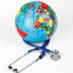 Globe with stethoscope on a white background — Stock Photo #19414979
