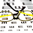 Glasses on vision test chart - 图库照片
