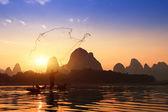 在中国使用 tra 捕鱼船与鸬鹚鸟,传统 — 图库照片