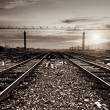 Stock Photo: Rails under sky background