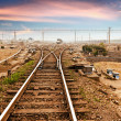 Rails under the sky background — Foto Stock