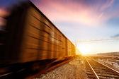 Freight train motion blur — Stock Photo