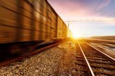Freight train motion blur — Stock Photo