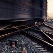 Stock Photo: Rails under the sky background