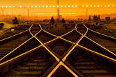 Cargo train platform at sunset with container — 图库照片