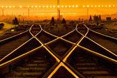 在夕阳与集装箱货物列车平台 — 图库照片