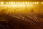 Freight train field under the curtain of night, — Stock Photo