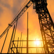 Industrial construction cranes and building silhouettes over sun at sunrise. — Stock Photo