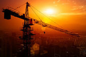 Industrial construction cranes and building silhouettes over sun at sunrise. — 图库照片