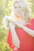 Portrait of a beautiful young blonde woman — Stock Photo