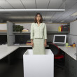 Businesswoman standing in office cubicle - Stock Photo