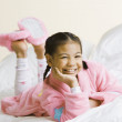 Stock Photo: Portrait of Pacific Islander girl wearing pajamas