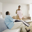 Senior African couple in hotel room — Foto Stock