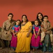 Multi-generational Indian family in traditional dress - Stock Photo
