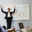 African businesswoman cheering in front of whiteboard — Stock Photo