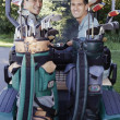 Two men in golf cart - ストック写真