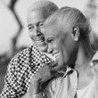 Senior couple laughing together — Stock Photo