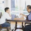 Stock Photo: Asigrandfather and grandson playing chess