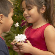 Stock Photo: Young Hispanic girl giving brother Christmas gift