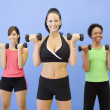 Multi-ethnic women lifting weights - Stock Photo