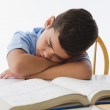 Stock Photo: Hispanic boy napping on textbook