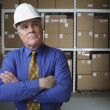 Businessman wearing hard hat in warehouse — Stok fotoğraf