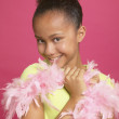 Stock Photo: Africgirl wearing feather boa