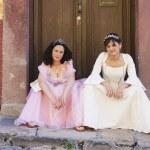 Hispanic girls wearing Quinceanera dresses — Stock Photo