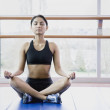 Wommeditating indoors — Stock Photo #13223673