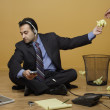 Businessman working without a desk — Stock Photo