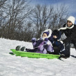 Mother pushing children on sled - Stock Photo