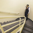 Businessman on stairs — Stock Photo